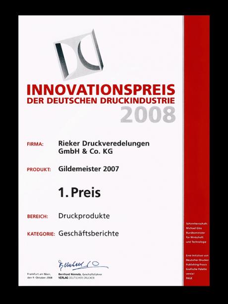 weltweit verkauft große Auswahl große Auswahl Innovationspreis der deutschen Druckindustrie 2008 | RIEKER ...