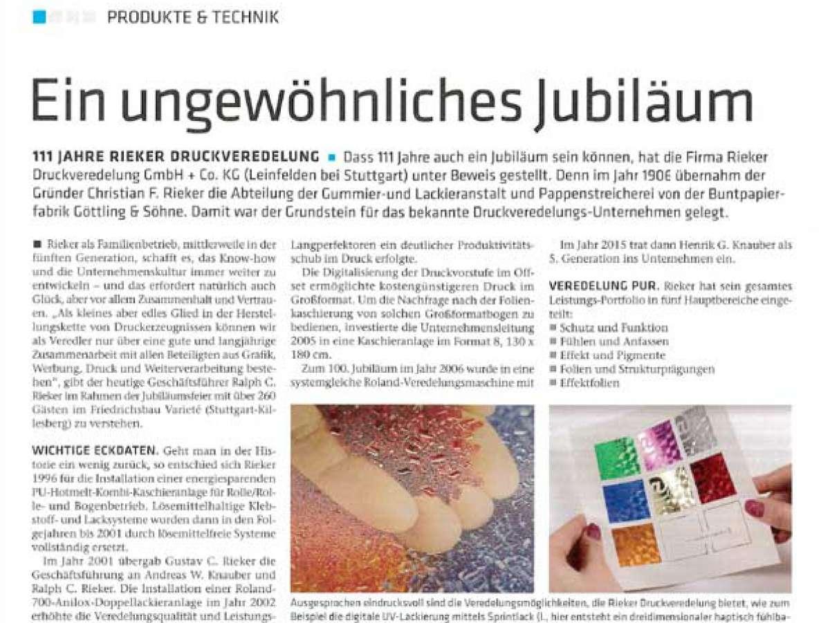 suche nach echtem großer Verkauf feinste Stoffe Artikel im Deutschen Drucker zum Jubiläum | RIEKER ...